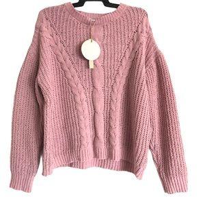 Moral Fiber Pastel Pink Cable Knit Jumper Sz XL